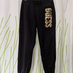 Guess sweat pants joggers, size XS gold sequins